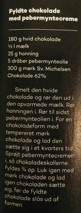 Fyldte chokolader med pebermyntecreme