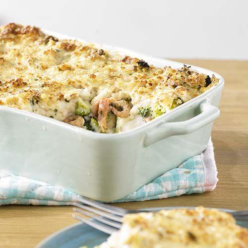 Lasagne met kabeljauw, garnalensaus en broccoli