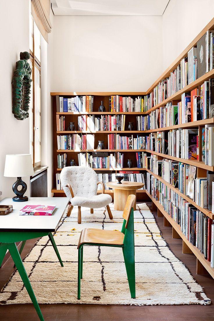 Mid Century Modern home library A book loveru0027s