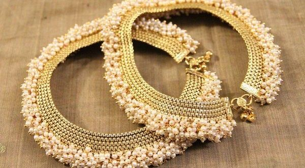 Stoned, pearls and kundan adoration payal Designs