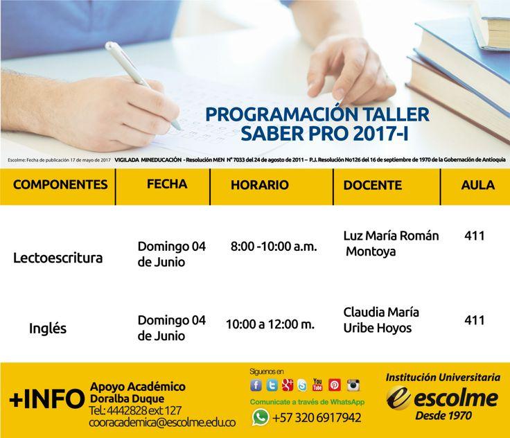@Escolmeduco ¡Prográmate con el taller Saber Pro!