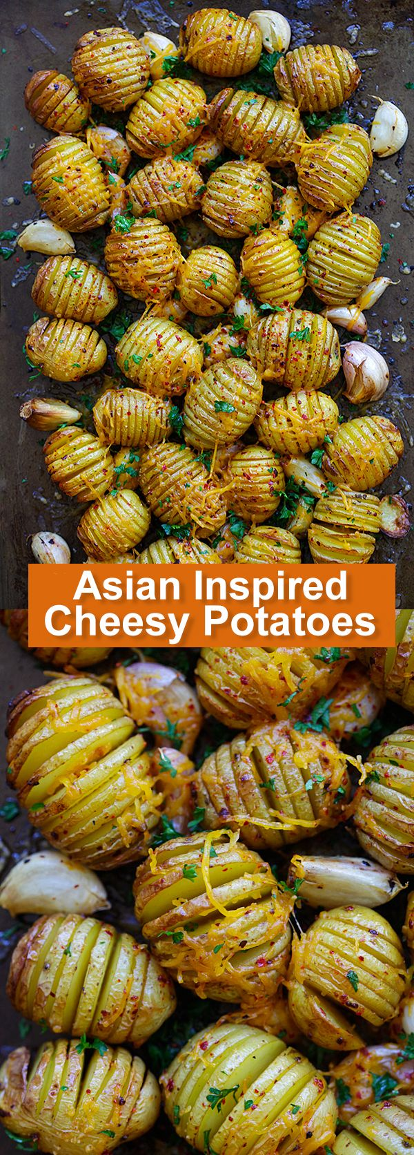 Asian Inspired Cheesy Potatoes - Hasselback potatoes like you've never tasted before, infused with a kick of Asian flavor. #realfoodsunday @tillamook #ad