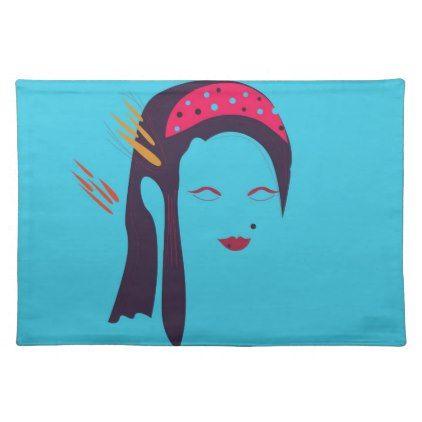 Design Geisha on blue Placemat - blue gifts style giftidea diy cyo