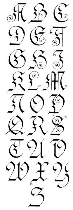 Gothic Calligraphy...works well do to in pencil first...sometimes I cheat and do the swirls with a 005 pigment pen