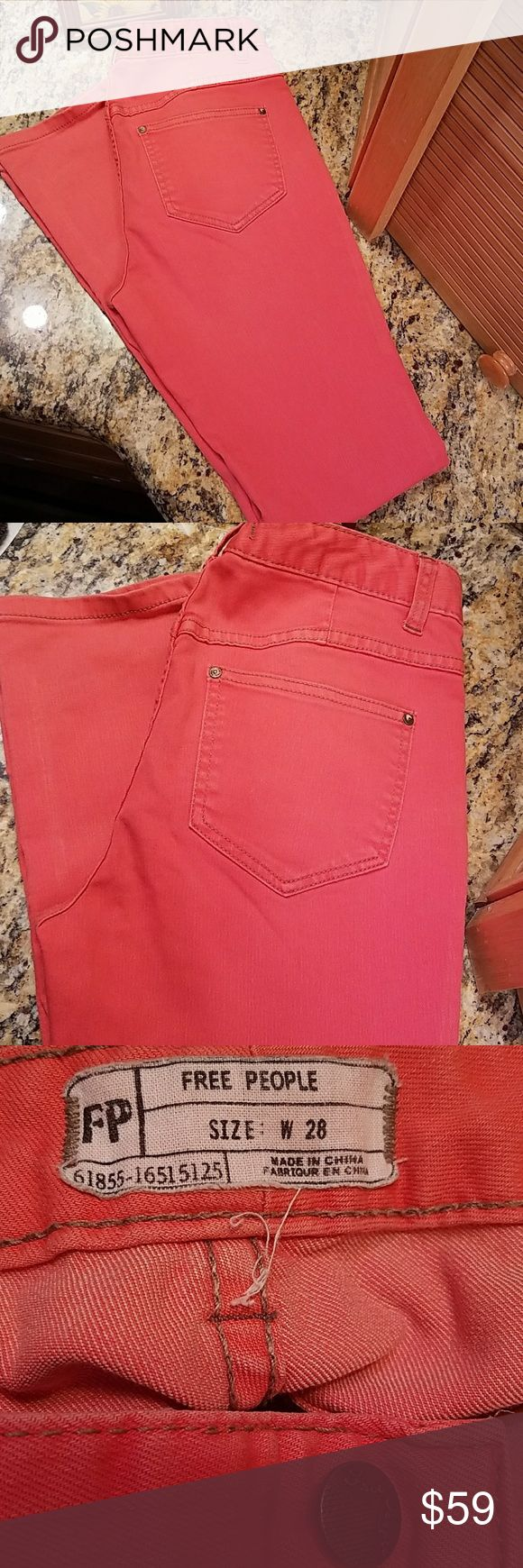 """Free People coral skinny jeans, size 28/31 Free People coral skinny jeans, size 28  ~~measured flat:  inseam 31"""", true waist 15"""", front rise just over 9"""", leg opening 9"""", ankle 6.5""""  ~~some mild distressing, in good condition  ~~i love them but after surgery a year ago, likely not get back into them. sigh.   Offers welcome  ♡♡Or add to a bundle for a private no obligation offer from me via dressing room  ☆Non smokers tho we do have pets so a stray hair might transfer. Items are stored away…"""