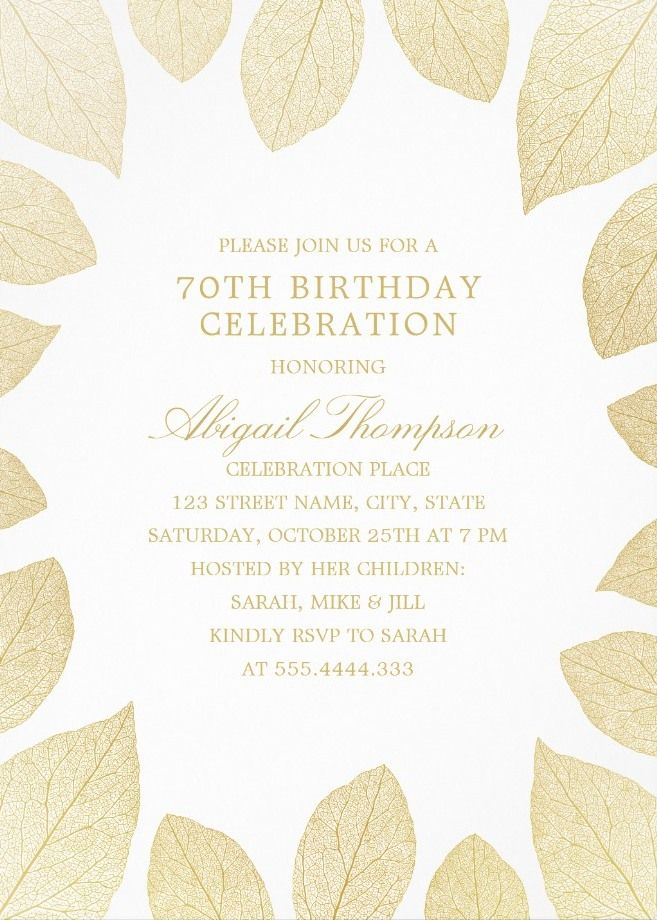 Unique Gold Leaves 70th Birthday Invitations Elegant Frame