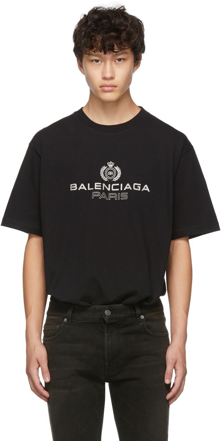Black Paris Laurel Regular Fit T-Shirt
