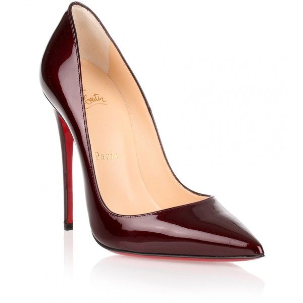 Christian Louboutin So Kate 120 Patent Bordeaux Pump found on Polyvore featuring shoes, pumps, heels, sapatos, zapatos, red, red stilettos, red high heel shoes, red stiletto pumps and stiletto pumps