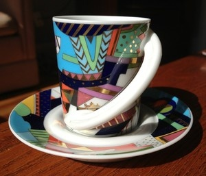 Check out the wild design on this 1980s Rosenthal demitasse espresso cup and saucer.