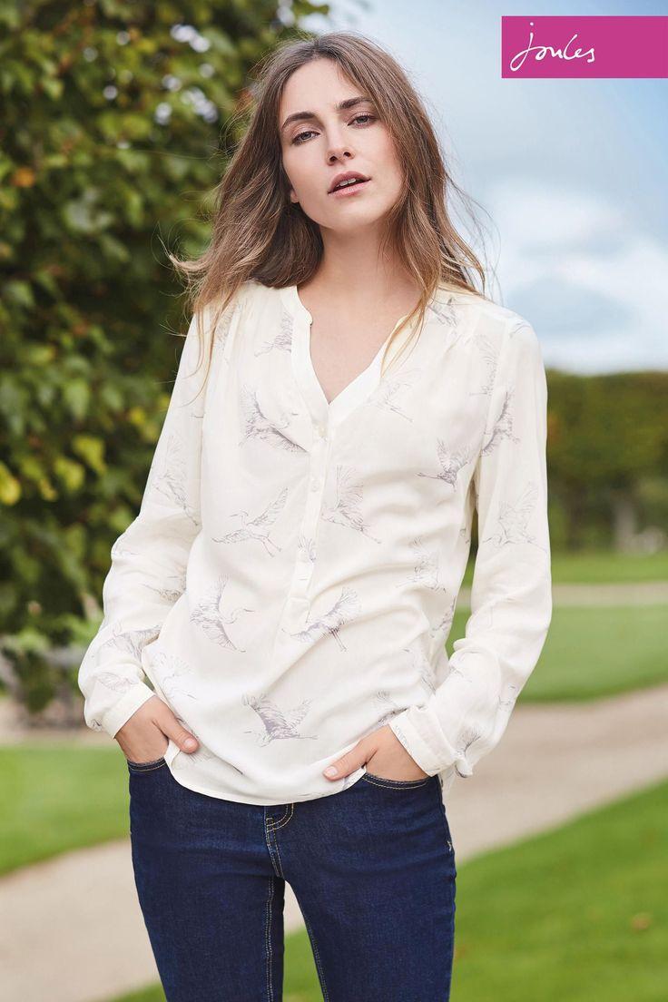 Кремовая блузка с птицами Joules Rosamund - Покупайте прямо на Next Украина