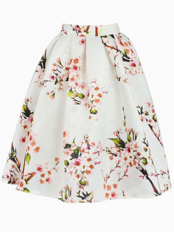 White Sakura Skater Skirt With Pleat - Choies.com