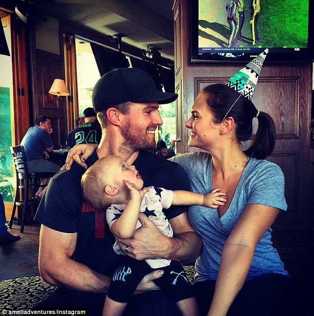 Smitten: Stephen Amell he gazed into his wife Cassandra Jean's eyes on her 29th birthday i...