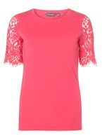 Womens **Tall Rasp Lace Sleeve T-Shirt- Pink