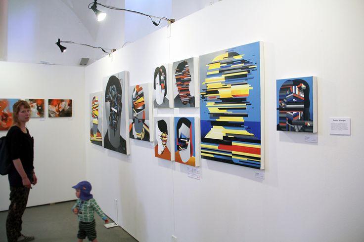"Tobias Kroeger, at ""Young Munich Artist"" Booth, Stroke Artfair, Munich 2016, Contemporary Abstract, Graffiti Art, Graffuturism, Painting, Exhibition"