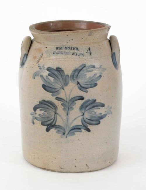 """Sold For $ 900       Pennsylvania four gallon stoneware crock, 19th c., impressed Wm. Moyer, Harrisburg, PA with cobalt floral decoration, 13 1/2'' h.      Condition report    Two large firing cracks. Exterior has been sprayed along crack. 1"""" rim flake to rear. A few other smaller rim flakes. Large hairline to base."""