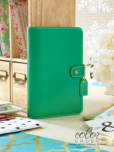 Websters Pages - Color Crush Collection - Personal Planner Binder - Summer Green 10/18/2016