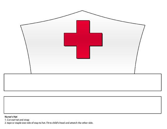Printable White Paper Nurse's Hat Instant Download by Printatoy