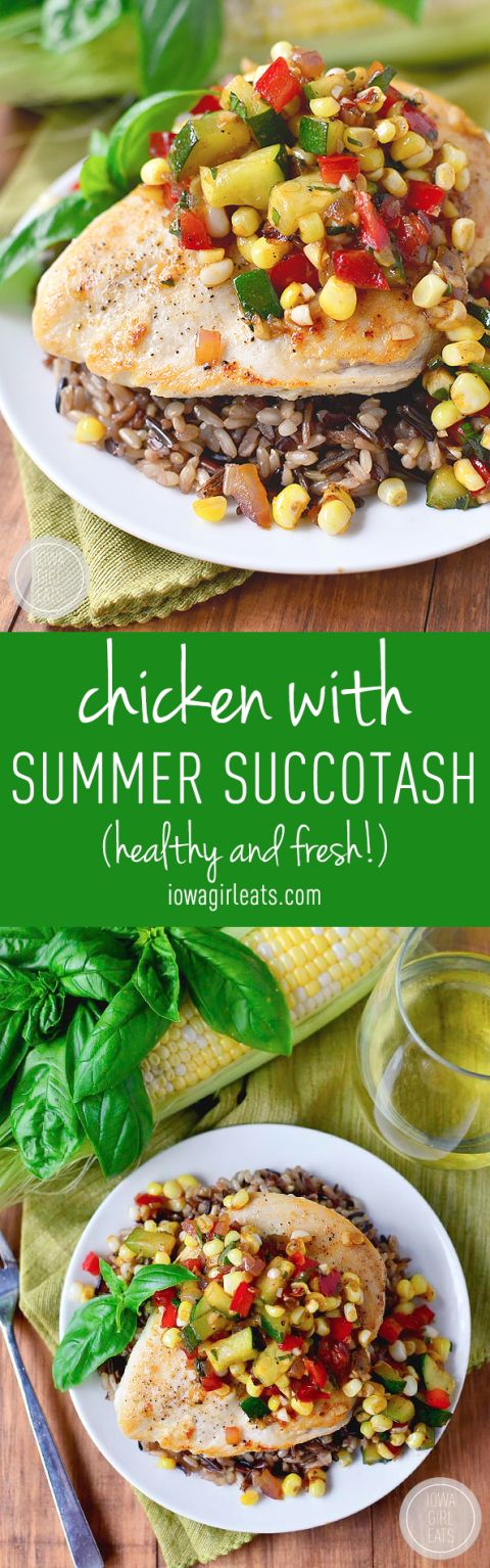 Chicken with Summer Succotash is fresh, healthy, and fast. Enjoy this light and tasty dish all summer long! #glutenfree | iowagirleats.com