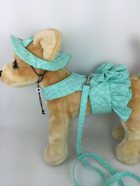 Made of cotton fabric on the outside and soft to the skin flannel on the inside, this is the perfect outfit for any four legged fur-baby for Spring! All harnesses use industrial strength Velcro Hook and Loop closures on the chest and belly to ensure the safety of your pet, as well as a fusible interfacing on the inside for strength. The leash attachment point is secured at several points and reinforced. The fabric patterns may vary from size to size based on the area of fabric used.   Rushed…