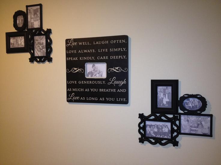 black wall frames center bed bath side