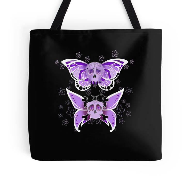 Purple Butterfly #SugarSkulls #ToteBag #Bag Artwork by Toni Lee from http://www.tearingcookie.com/ Design work by Mannzie