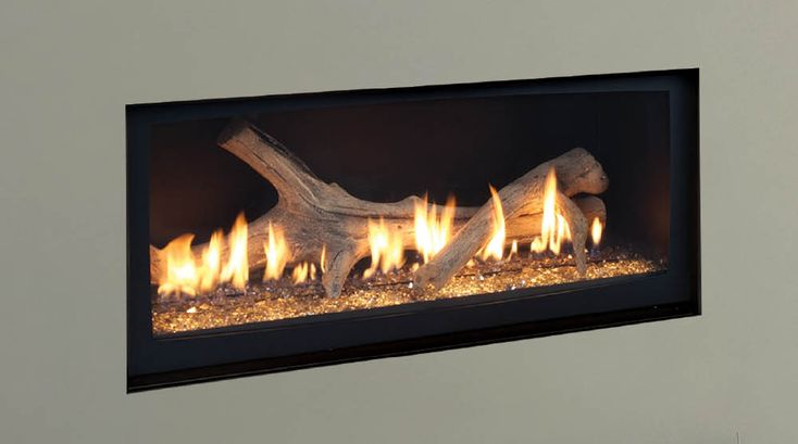 Echelon Direct Vent Gas Fireplaces by Majestic Products - nice look with no surround and driftwood log set.