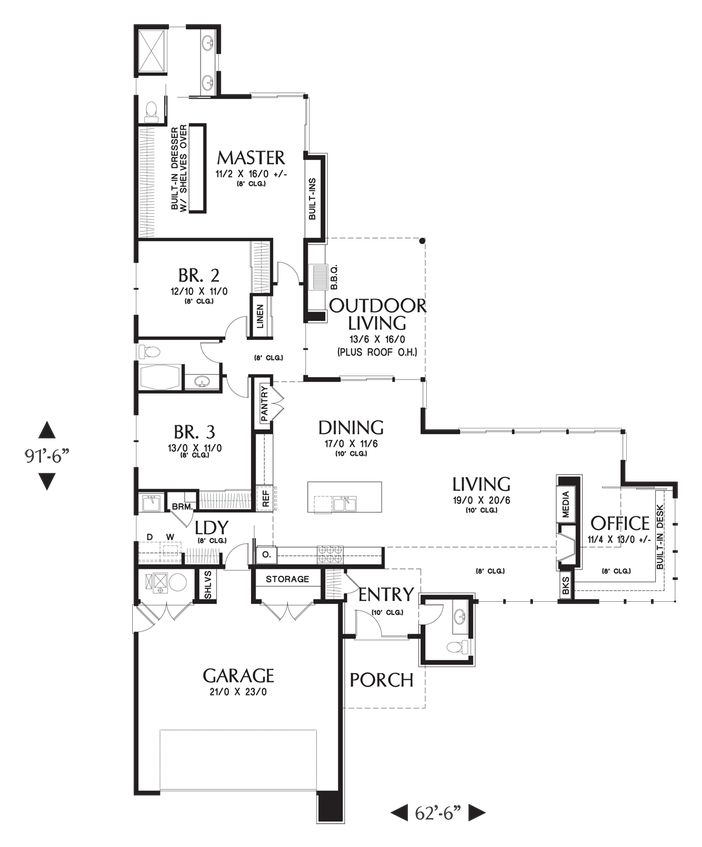 Mascord House Plan 1246 3 Car Garage Outdoor Living And