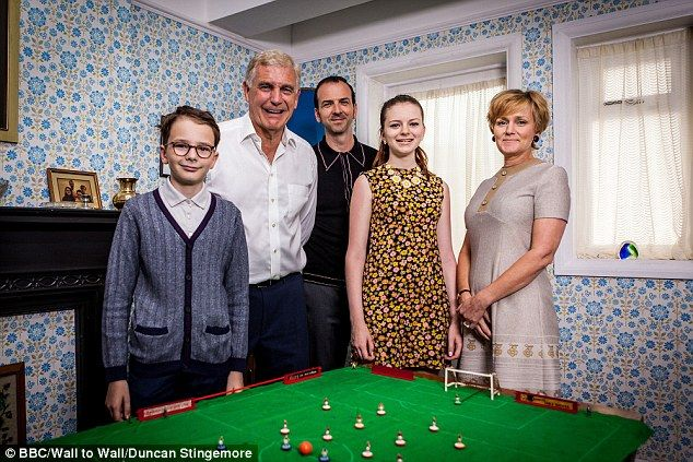 Swinging Sixties: It was boom time for Britain - we enjoyed virtually full employment, were the world's fourth-largest car manufacturer and owned more TVs than the rest of Europe put together. Sir Trevor Brooking (second left) who began his legendary West Ham career in the decade joined the family for a game of Subbuteo