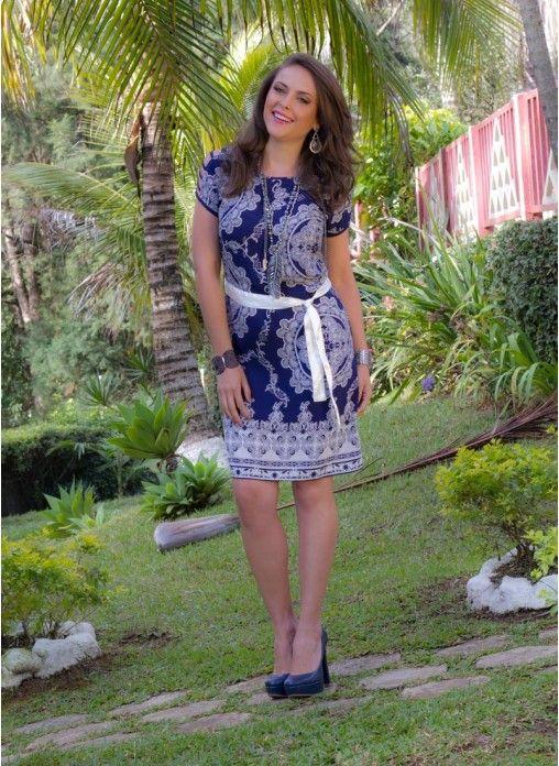 Vestido estampado com manga raglã *Catálogo