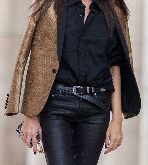 Leather and blazer