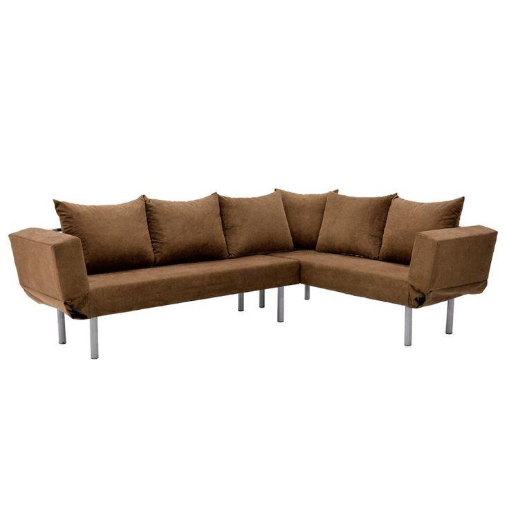 Γωνιακός καναπές Seul Corner με ύφασμα καφέ 233x170x85