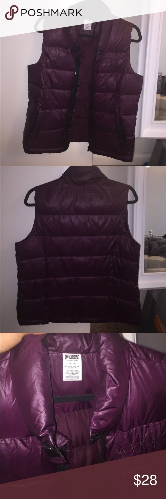 Fluffy purple vest 💜💜💜 Like new PINK Victoria's Secret Jackets & Coats Vests