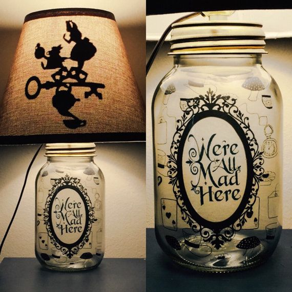 Alice in Wonderland inspired Mason Jar Character por PracPerfCrafts