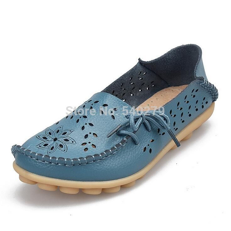 Surprising Day Women's Casual Shoes Genuine Leather Woman Loafers Slip-On Female Flats Moccasins Ladies Driving Shoe Cut-Outs Mother Footwear RoseRed 10