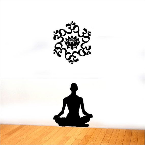 The Universal Om symbol Buddha Sacred Indian Lotus Flower Nelumbo Nucifera Vinyl Wall Decal Buddhism Divine Buddhist vibration Sign