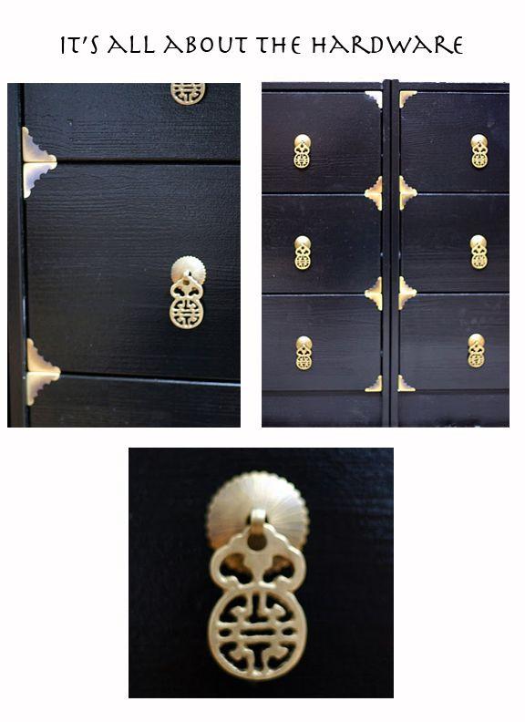 Rast cabinets hack: black enamel paint, cheap corner tacks (2.50 for 4) + drawer pulls=really upscale asian dresser.