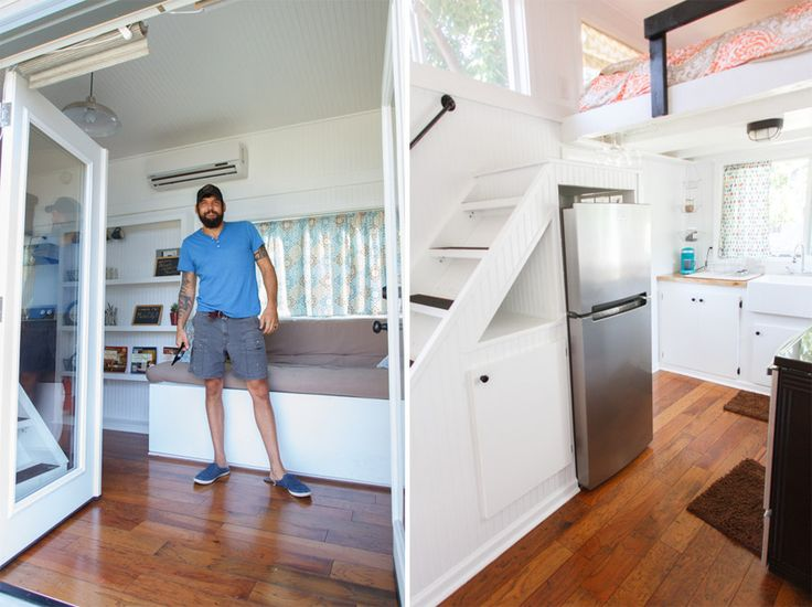 An 8×24 tiny house on wheels with two lofted sleeping quarters in Nashville, Tennessee. Built by Tiny Happy Homes.