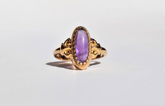Antique French Oval Amethyst Ring 19th Century French Jewelry