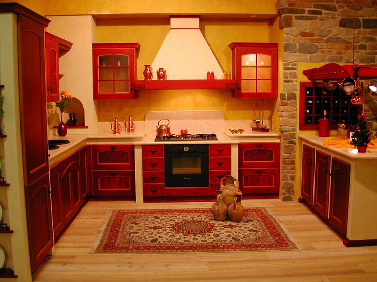 Antique Red Kitchen Cabinets