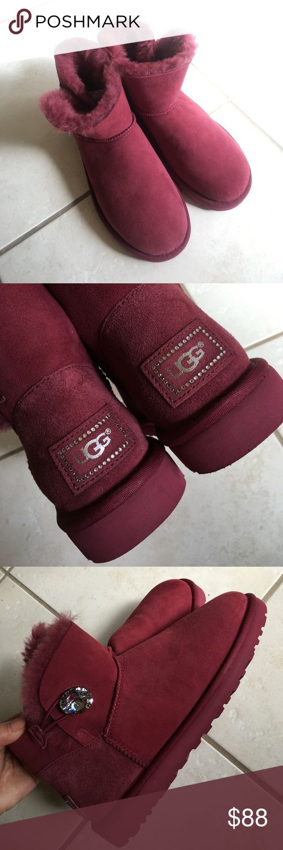 Ugg mini bailey button bling Brand new but no box. They are too small for me. Color is garnet. It's purple but more like burgundy. UGG Shoes Winter & Rain Boots