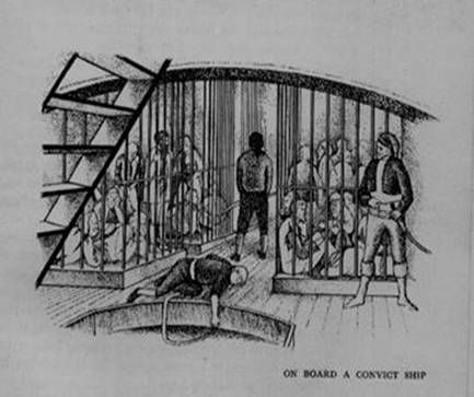 The hold of a convict ship.
