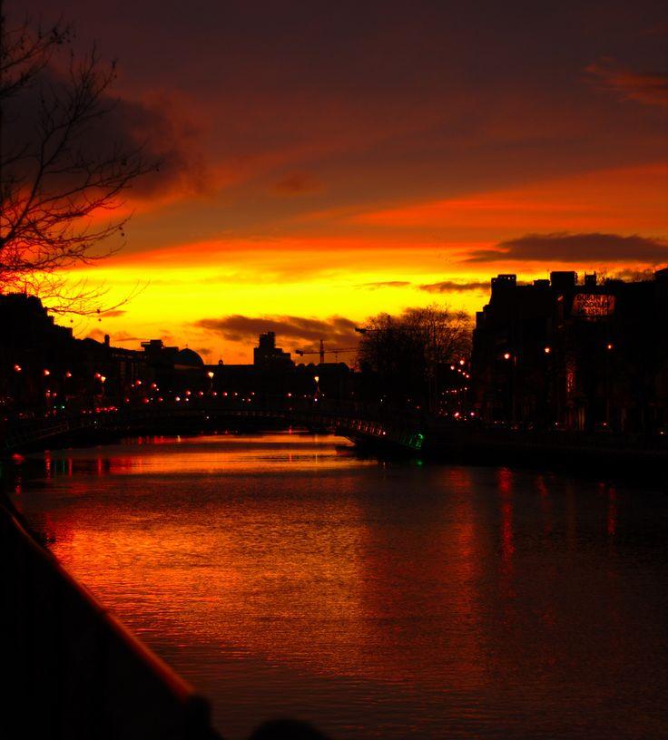 Sunset Over the River Liffey, Dublin