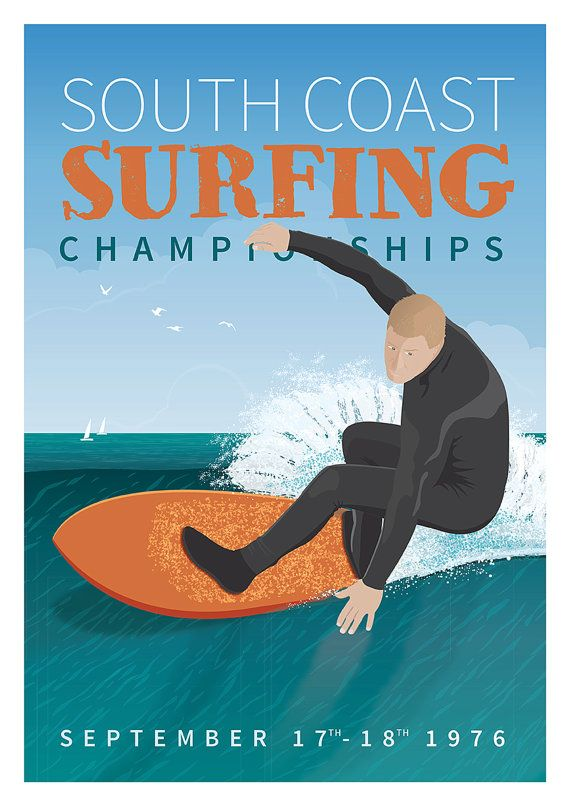 poster to print  Retro travel surfing poster A3 by FrontsidePrints on Etsy