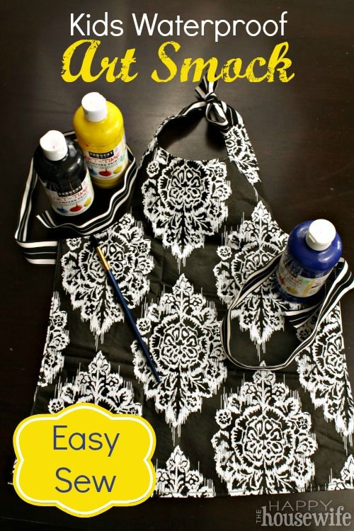 This cute, easy-sew waterproof art smock took less than an hour from beginning to end, and it's completely adjustable so it will fit your child perfectly.   The Happy Housewife