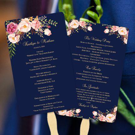 Navy Blue Wedding Program Fan Printable Diy Template You Edit Print