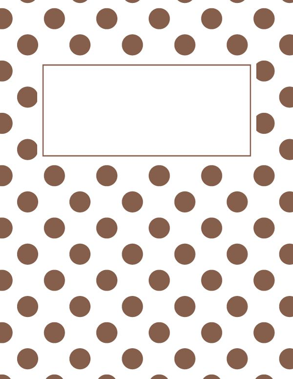 Free printable brown and white polka dot binder cover template. Download the cover in JPG or PDF format at http://bindercovers.net/download/brown-and-white-polka-dot-binder-cover/