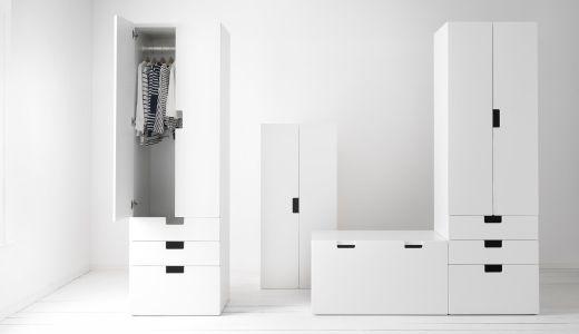 STUVA Serie, hier u. a. mit STUVA Aufbewahrungskombination mit Türen und Schubladen in Weiß