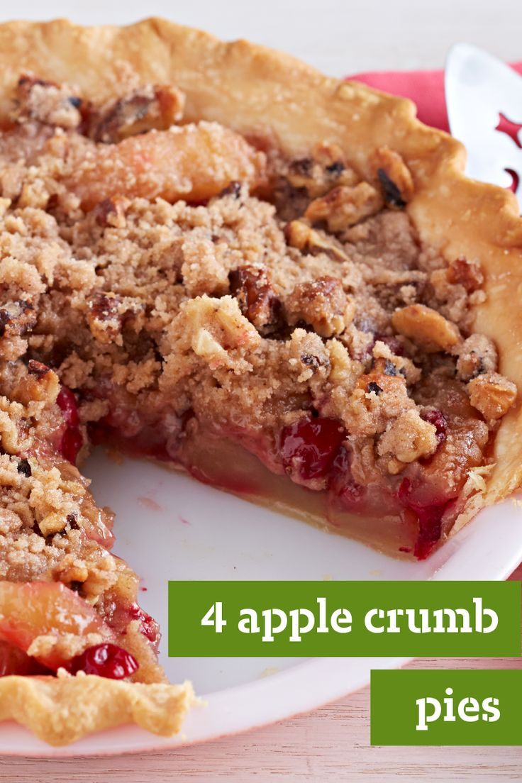 4 Apple Crumb Pies – If you're a fan of sweet, cinnamony crumb topping and streusels, these apple crumb pie recipes are the way to go! From classic apple crumb desserts to versions with pears, cranberries, and caramel, you'll find the perfect recipe for your holiday table.