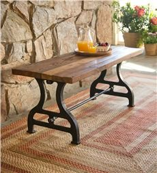 Birmingham Indoor/Outdoor Reclaimed Wood Bench With Iron Base Http://www.