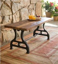 Birmingham Indoor Outdoor Reclaimed Wood Bench With Iron Base Http Www
